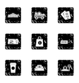 Check at airport icons set grunge style vector image