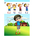 Children playing golf on the lawn vector image