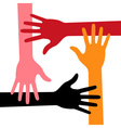 Colorful Four Hands Icon for your design vector image