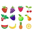 cute cartoon different fruits icons set vector image