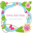 Flower decorative frame with text vector image