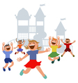 Kids jumping with joy on a playground vector image