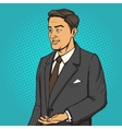Man in a business suit speaks comic book vector image