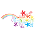 Rainbow and swirls vector image