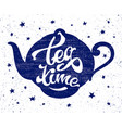 tea time lettering vector image