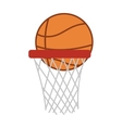 Silhouette colorful with basketball hoop and ball vector image