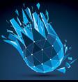 3d digital wireframe spherical object broken into vector image