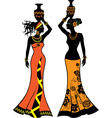 Beautiful African woman with vases vector image