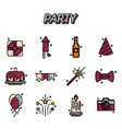 party flat icons set vector image