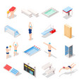 sport swimming pool isometric icons vector image