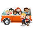 Children riding in orange camper van vector image
