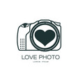 love photo camera icon isolated vector image