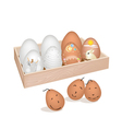 A Lot of Easter Egg in Wooden Container vector image vector image
