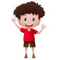 boy in red shirt waving hands vector image