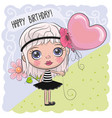 cute cartoon girl with a balloon vector image