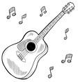 Doodle guitar acoustic vector image