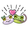 grated cute frog couple animal with heart design vector image