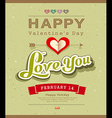 Happy Valentine message on recycled paper backgrou vector image