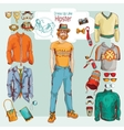 Hipster boy set vector image