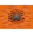 Red broken brick wall vector image