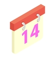 Valentines day calendar isometric 3d icon vector image