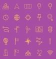 Navigation line color icons on violet background vector image