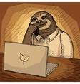 Sloth office worker cartoon vector image