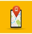 hand holds phone navigation app train station vector image
