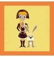 flat shading style icon Christmas girl rabbit vector image