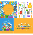 Set of cleaning service backgrounds vector