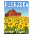 nebraska travel poster or sticker vector image vector image