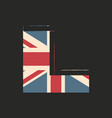 capital 3d letter l with uk flag texture isolated vector image