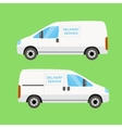 White delivery van twice vector image vector image