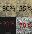 55 90 70 icon Set of percent discount on abstract vector image