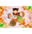 cute kids holding hands vector image