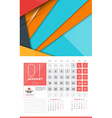 Calendar for 2016 Year January Design Clean vector image