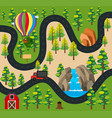 roadmap with truck on the road along the forest vector image