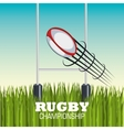 rugby ball goal post and field graphic vector image