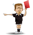 soccer referee holds red card vector image