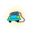 Traffic fumes suicide icon comics style vector image