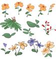 Flowers grass plants Cartoon vector image