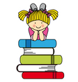 Little girl with many books vector image vector image