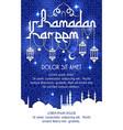 ramadan kareem holiday greeting poster vector image vector image