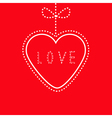 Hanging red heart with bow Love card vector image