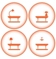 set interior icons with table lamp vector image