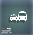 taxi icon symbol on the blue-green abstract vector image