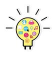 Template design light bulb idea with social vector image