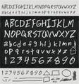 Unique handwritten letters vector image