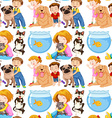 Seamless background with kids and pets vector image