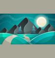 cartoon night landscape fir moon vector image